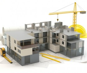 Residential Design Models and Cranes Stock Photo