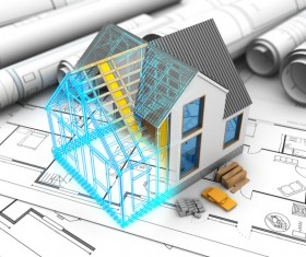 Residential design and drawings Stock Photo