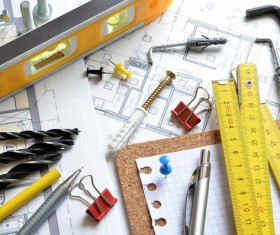 Residential design drawings and tools Stock Photo
