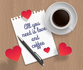 Romantic message with coffee and red heart vector 01