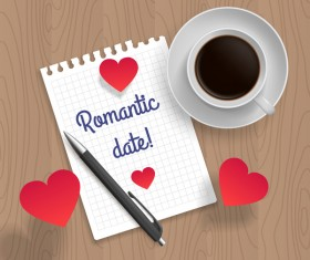 Romantic message with coffee and red heart vector 03