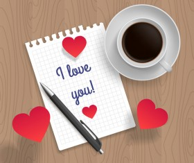 Romantic message with coffee and red heart vector 04