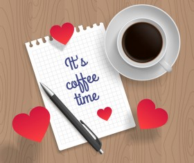 Romantic message with coffee and red heart vector 05