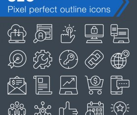SEO outline icons set