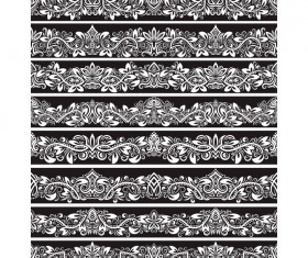 Seamless damask black borders vectors 01