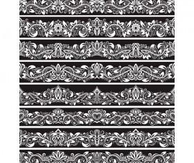 Seamless damask black borders vectors 02