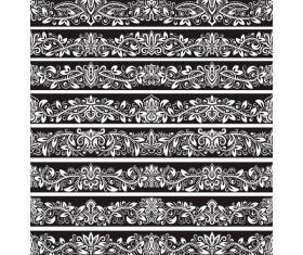 Seamless damask black borders vectors 03