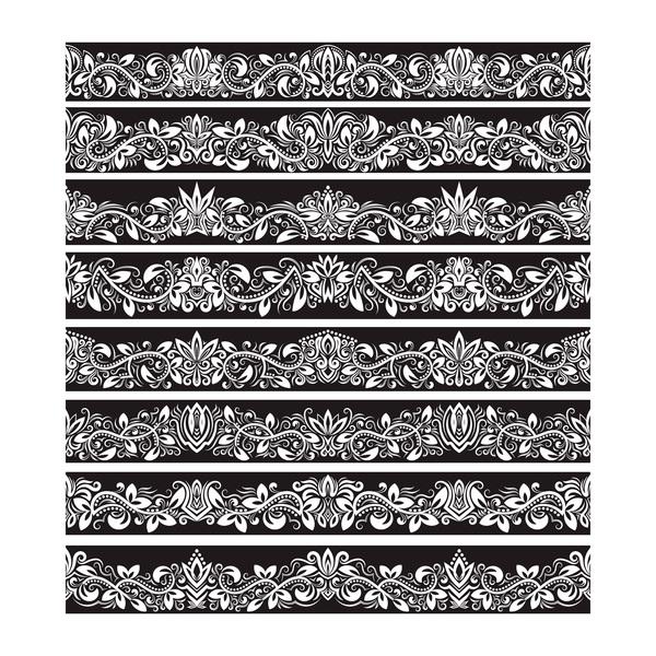 seamless damask black borders vectors 04