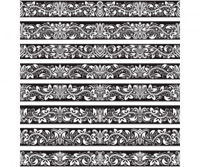 Seamless damask black borders vectors 06