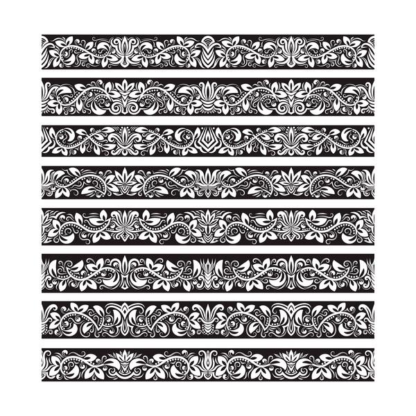 seamless damask black borders vectors 06