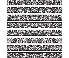 Seamless damask black borders vectors 07