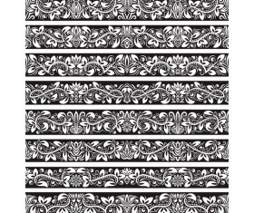 Seamless damask black borders vectors 08