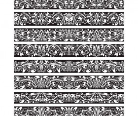 Seamless damask black borders vectors 09