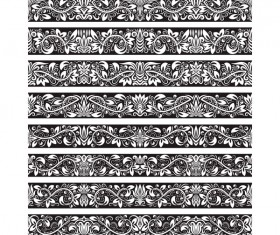 Seamless damask black borders vectors 10