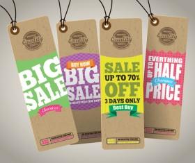 Season sale price cardboard tags vector 01