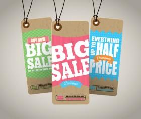 Season sale price cardboard tags vector 02