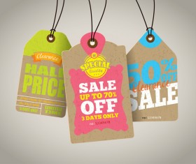 Season sale price cardboard tags vector 03