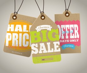 Season sale price cardboard tags vector 06