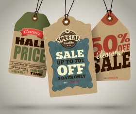 Season sale price cardboard tags vector 07