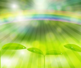 Seedling with rainbow background vector