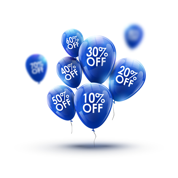 Shiny blue balloon with discount vector