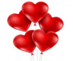 Shiny red heart shape balloon vector
