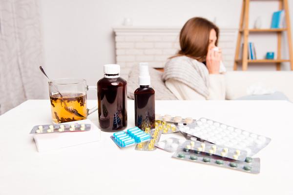 Sick woman with desktop medicine Stock Photo 04