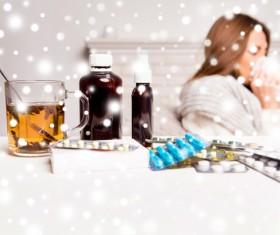 Sick woman with desktop medicine Stock Photo 05