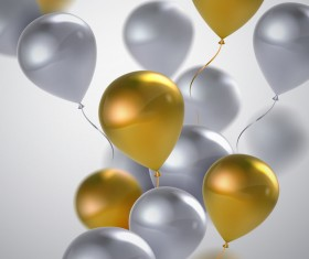 Silver with golden balloon background vector illustration