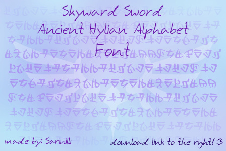 Skyward Sword Ancient Hylian font
