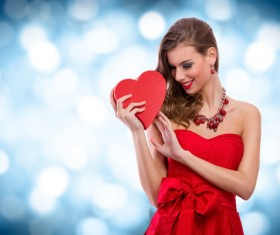Smiling girl with a Valentines gift HD picture 03