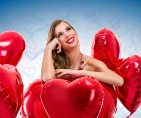 Smiling girl with a Valentines gift HD picture 04