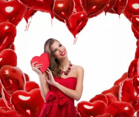 Smiling girl with a Valentines gift HD picture 11