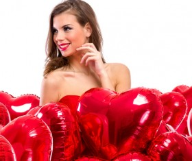 Smiling girl with a Valentines gift HD picture 12