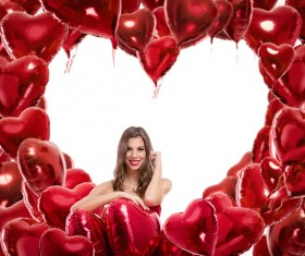 Smiling girl with a Valentines gift HD picture 15
