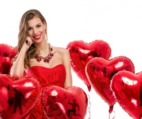 Smiling girl with a Valentines gift HD picture 18