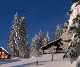 Snow-covered villas Stock Photo
