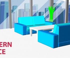 Sofa in big modern business office vector