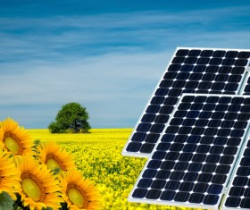 Solar panels and farmland Stock Photo