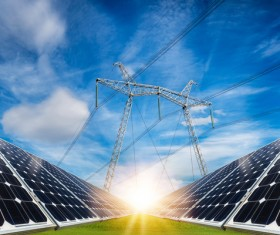 Solar panels and power grids Stock Photo