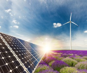 Solar panels and wind turbines Stock Photo 01