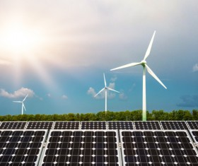 Solar panels and wind turbines Stock Photo 02