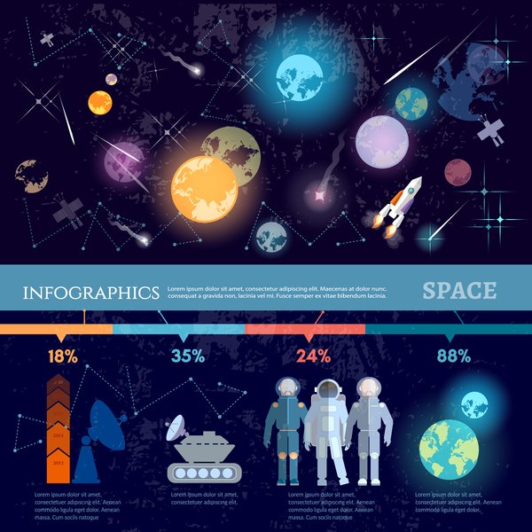 Space infographic template vectors material 04 vector for Material design space