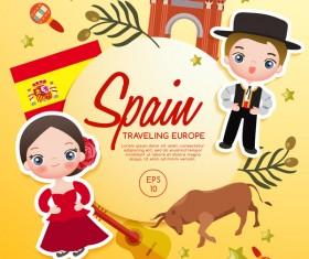 Spain travel cartoon template vector