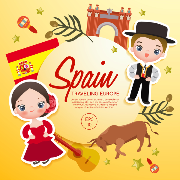 spain travel cartoon template vector free download