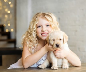 Stock Photo The little girl and Labrador 01