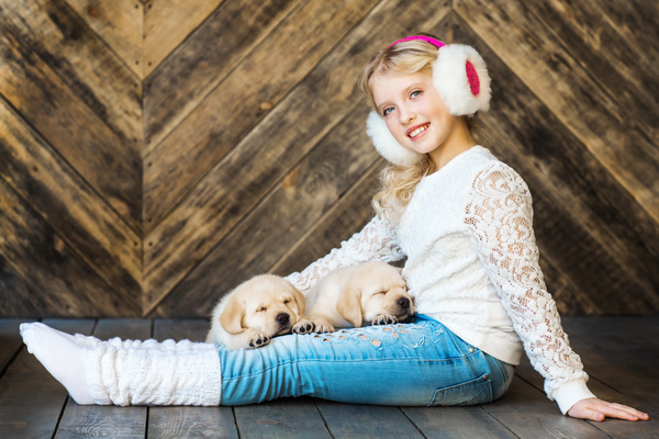 Stock Photo The little girl and Labrador 02