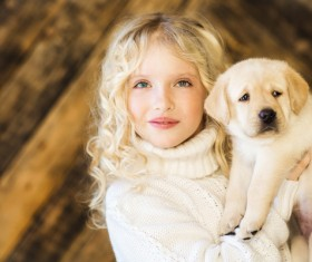 Stock Photo The little girl and Labrador 03