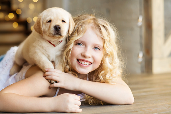 Stock Photo The little girl and Labrador 05