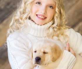Stock Photo The little girl and Labrador 07